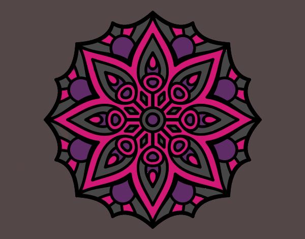 Coloriage Mandala symétrie simple colorié par mosaique