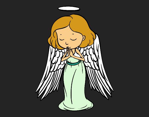 Coloriage Un ange qui prie colorié par KAKE2