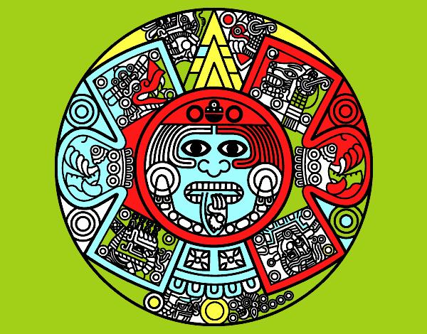 Dessin de calendrier azt que colorie par membre non inscrit le 17 de janvier de 2017 - Dessin azteque ...