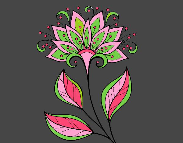 Coloriage Fleur décorative colorié par mosaique