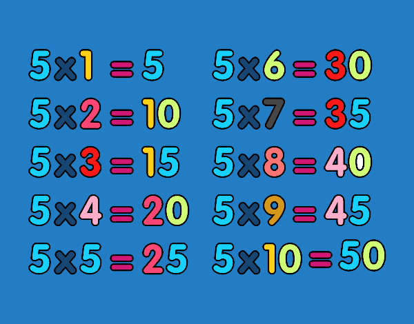 Dessin de la table de multiplication du 5 colorie par - Les table de multiplication de a ...