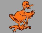 Canard en trottinette