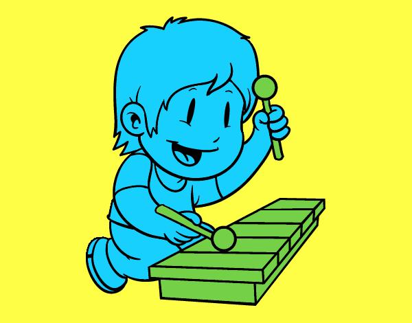 Dessin De Enfant Avec Xylophone Colorie Par Membre Non Inscrit Le 05