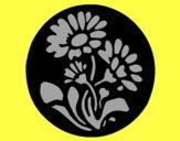 Gravure avec des fleurs