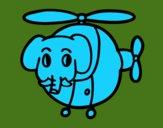 Hélicoptère avec éléphant