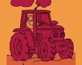 Tracteur en fonctionnement