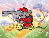 Coloriage Éléphant en moto colorié par raphael