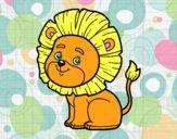 Coloriage Lion jeune colorié par raphael