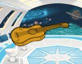 Coloriage Une guitare acoustique colorié par raphael