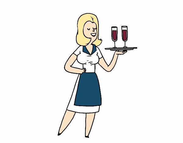 serveuse avec des verres