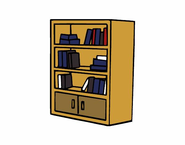 Dessin de biblioth que avec tiroirs colorie par membre non for Salon avec bibliotheque