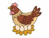 Poule avec oeufs de Pâques
