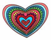 Coloriage Mandala cœur colorié par sabrina