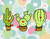 Coloriage 3 mini cactus colorié par raphael