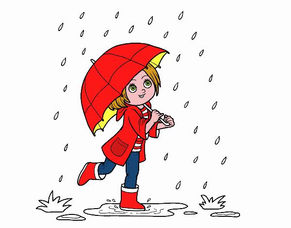Dessin de Fille avec le parapluie sous la pluie colorie ...