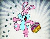 Lapin à la recherche de oeufs de Pâques