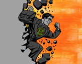 Superhero briser un mur