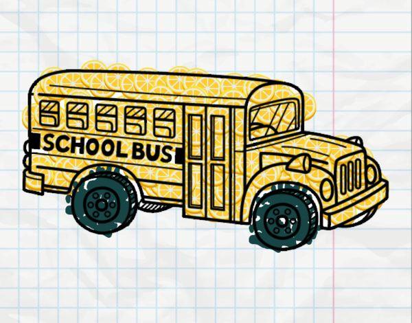 Dessin De Autobus Scolaire Aux états Unis Colorie Par Membre