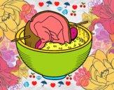 Brochette boeuf avec du riz