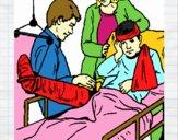 Garçon avec la jambe cassée