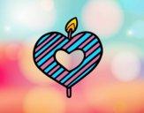 Bougie en forme de cœur