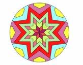 Coloriage Mandala mosaïque étoile colorié par Petit