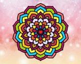 Coloriage Mandala pétales de fleur colorié par Petit