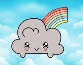 Nuage avec arc en ciel Kawaii