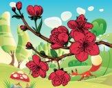 Coloriage Branche de cerisier colorié par Vickee