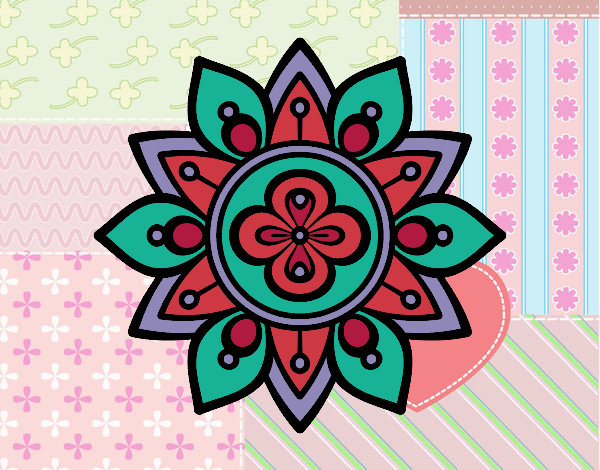 Dessin de mandala fleur du lotus colorie par vickee le 28 - Fleur de lotus mandala ...