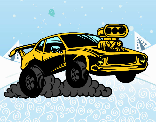 Coloriage Sportif muscle car colorié par raphael