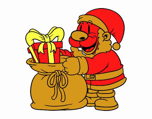 Père Noël donner des cadeaux