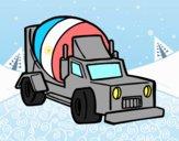 Coloriage Camion bétonnière colorié par raphael