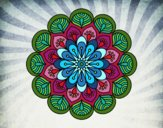 Mandala fleur et feuilles