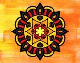 Coloriage Mandala vie vegetale colorié par mosaique1