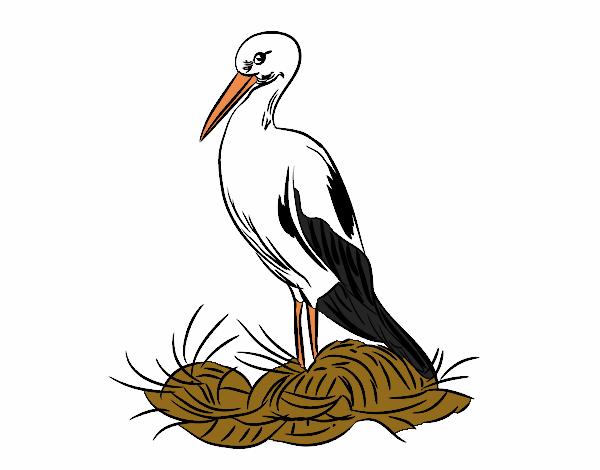 Dessin de cigogne et le nid colorie par membre non inscrit le 02 de octobre de 2017 - Cigogne dessin ...