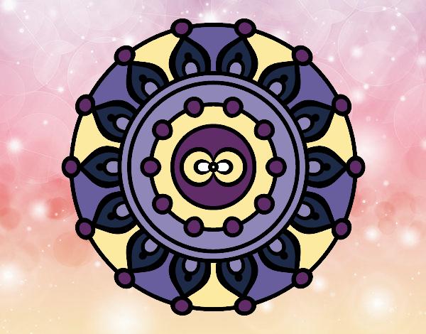 Coloriage Mandala méditation colorié par gabriela