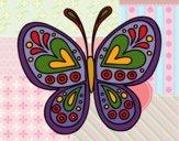 Coloriage Mandala papillon colorié par gabriela