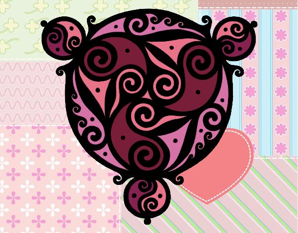 Coloriage Mandala avec trois points colorié par gabriela