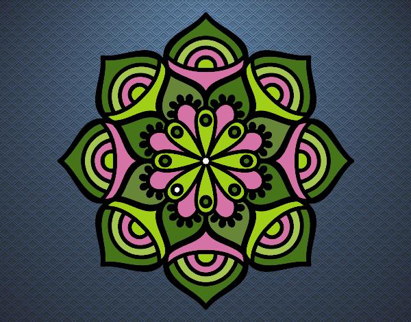 Coloriage Mandala croissance exponentielle colorié par gabriela