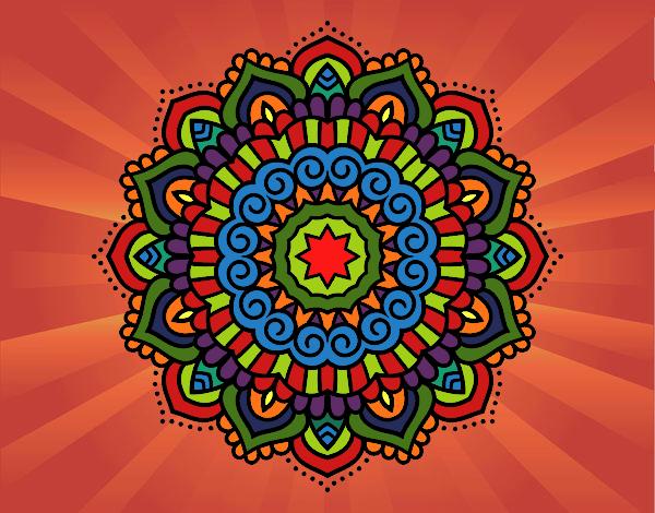 Coloriage Mandala étoiles décoré colorié par gabriela