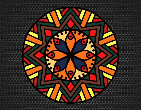 Coloriage Mandala fleur de bambou colorié par gabriela
