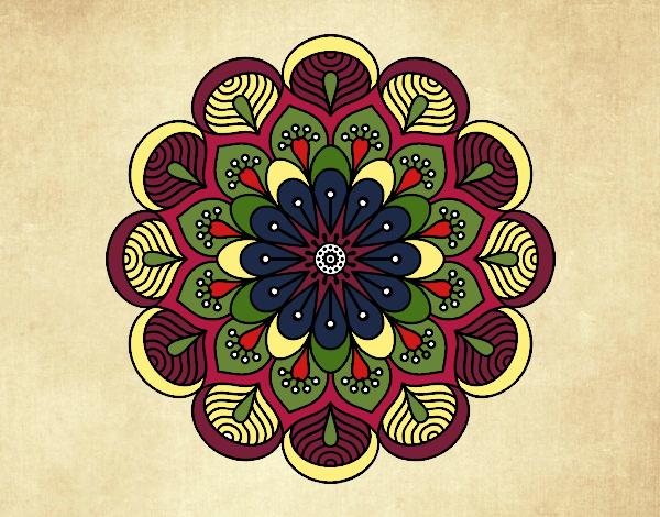 Coloriage Mandala fleur et feuilles colorié par gabriela
