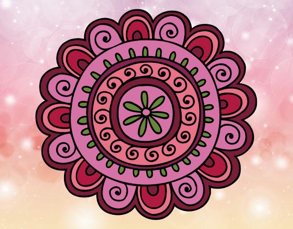 Coloriage Mandala joyeux colorié par gabriela