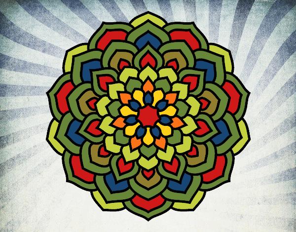 Coloriage Mandala pétales de fleur colorié par gabriela