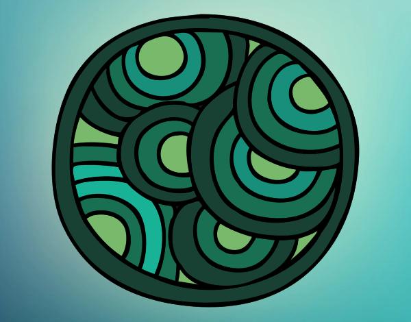 Coloriage Mandala ronde colorié par gabriela