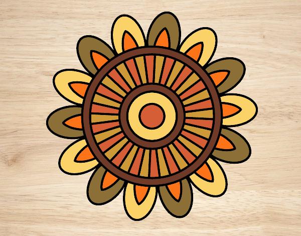 Coloriage Mandala solaire colorié par gabriela