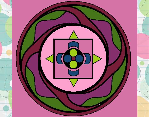 Coloriage Mandala 7a colorié par gabriela