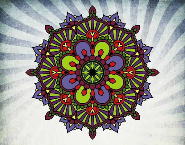 Coloriage Mandala éclat floral colorié par gabriela