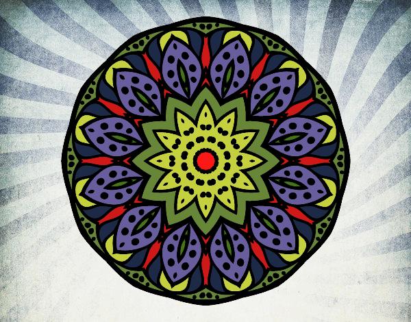 Coloriage Mandala nature colorié par gabriela